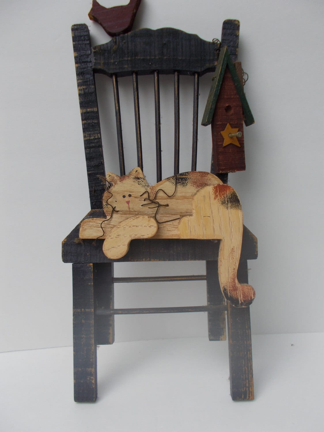 hanging chair on wall twin sleeper chairs vintage cat in by memasmarket1 etsy