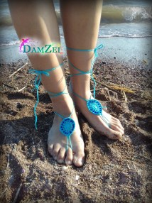 Turquoise Barefoot Sandal Crocheted Anklet Pink