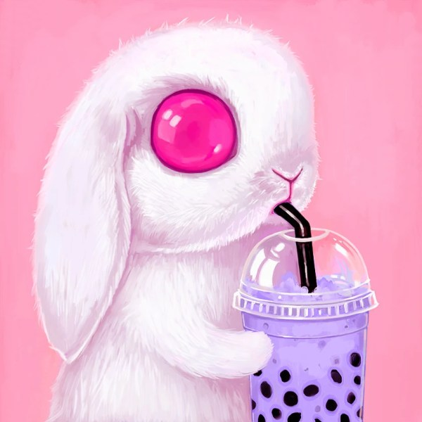 Bunny Art Print Kawaii Pop Surrealism Big Eyes White
