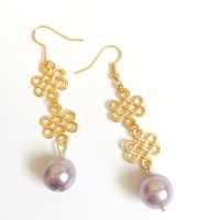 Pale Pink Pearl Infinity Earrings Pearl Earrings Pearl