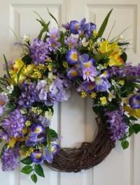 Purple Iris front door wreath large door wreath purple and