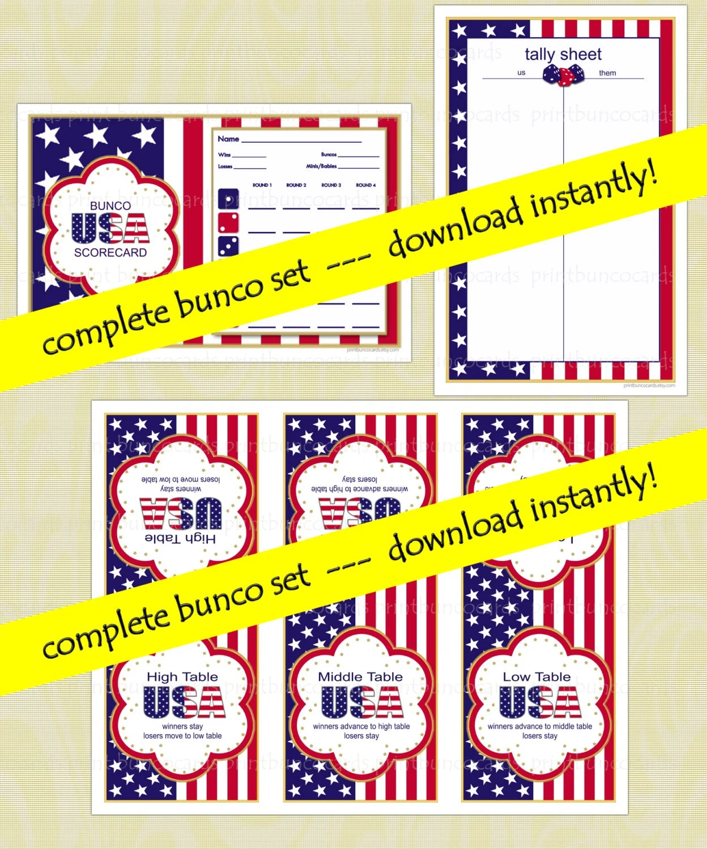 Printable Usa Patriotic Custom Bunco Set