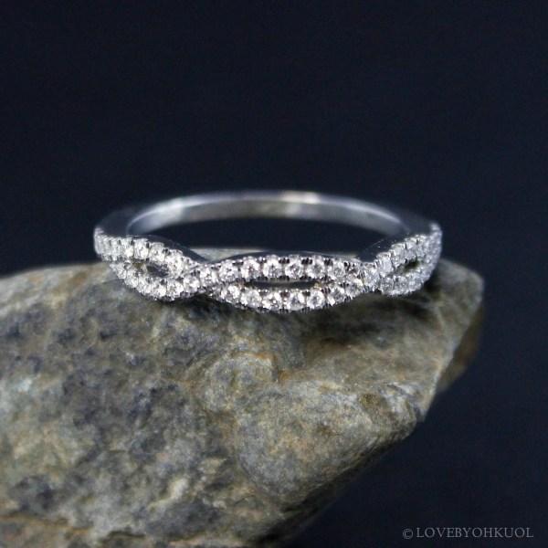 Pave Diamond Twisted Infinity Wedding Band Eternity
