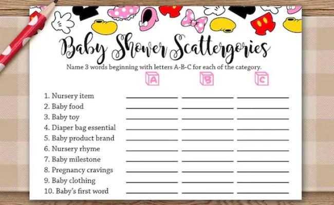 Scattergories Baby Shower Game Disney Theme Baby Boy Baby
