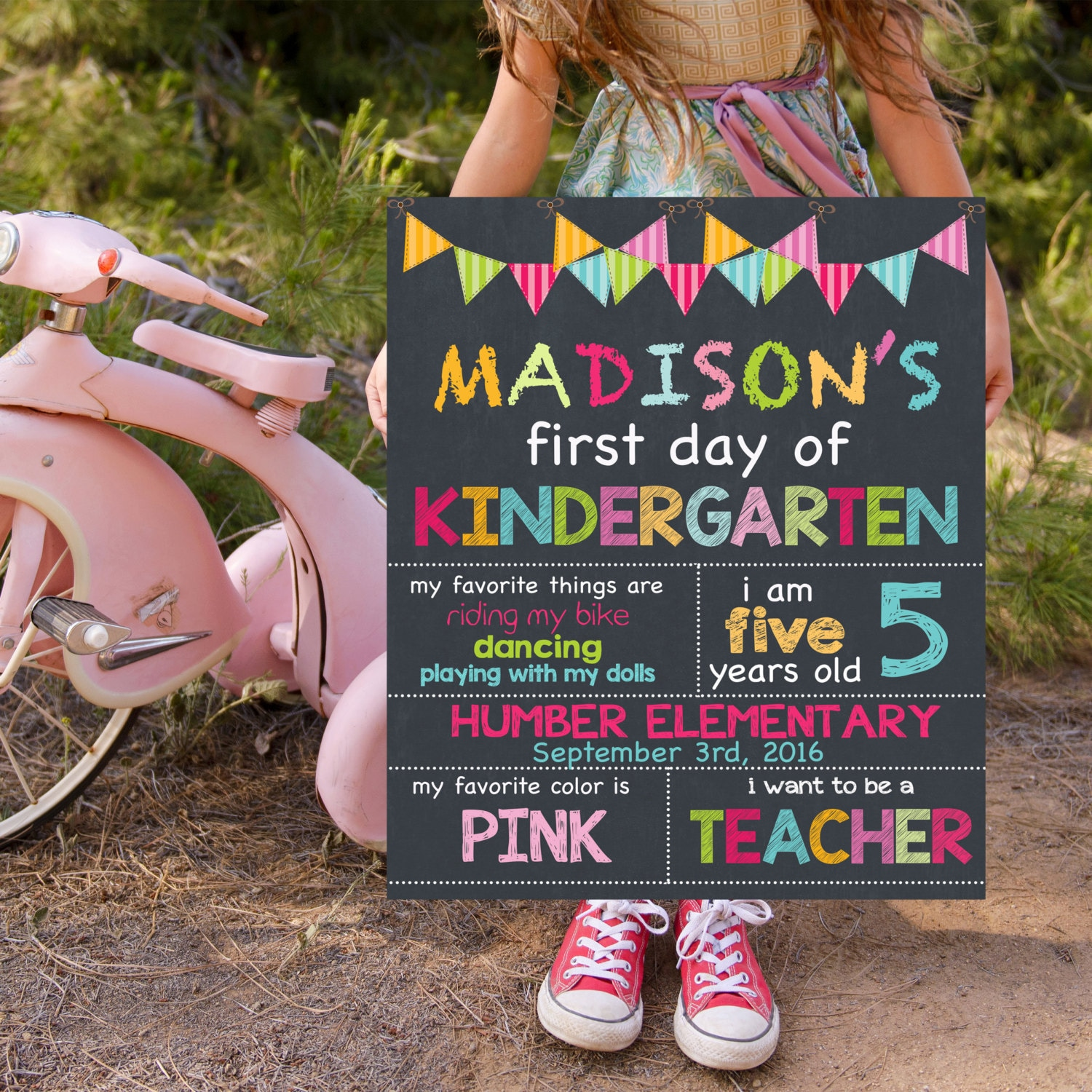 First Day Of Kindergarten Sign Back To School Signs