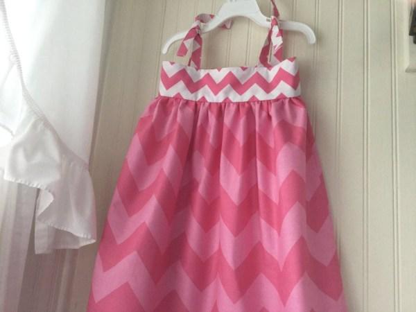 Girl 4 Pink And White Chevron Print Summer Dress