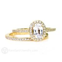 Oval White Sapphire Wedding Set Engagement Ring Oval Diamond