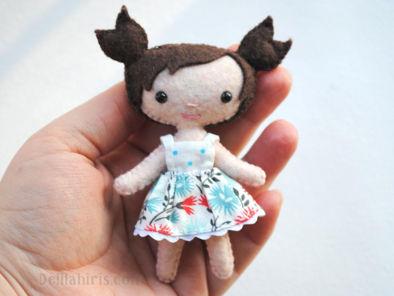 PDF Felt Doll Pattern 4 Inch Mini Dollhouse Doll by