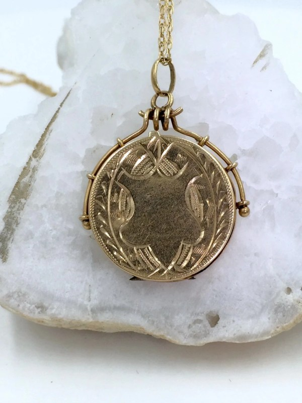 Victorian 14k Gold Locket And Chain Antique