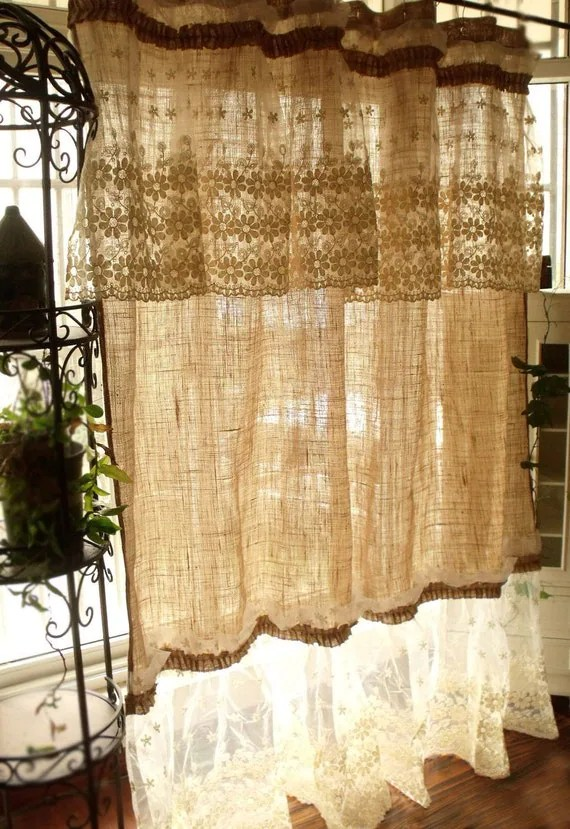 Layered SHABBY washed Rustic Chic Burlap SHOWER Curtain Lace