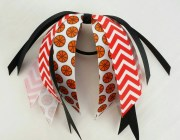 red and black basketball bow hair