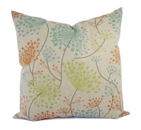 Orange Green and Blue Decorative Pillow Covers Two Floral