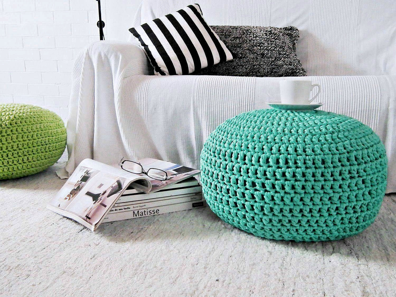 Pouf Chair Aquamarine Pouf Ottoman Aqua Foot Stool Pouf Crochet Floor