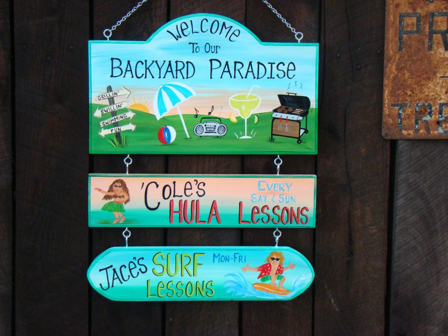 Custom Welcome to our Pool Swimming or Backyard Home Yard