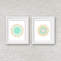 Turquoise print set matching wall art set of 2 poster two