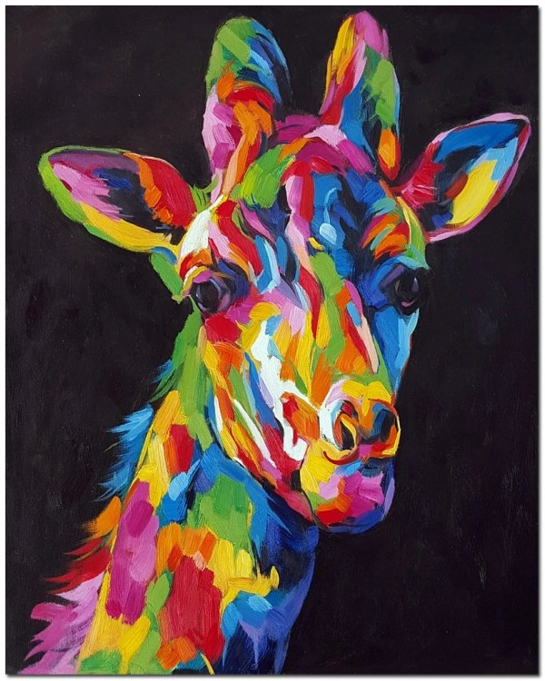 Stare Of Giraffe Signed Hand Painted Abstract Wildlife Oil