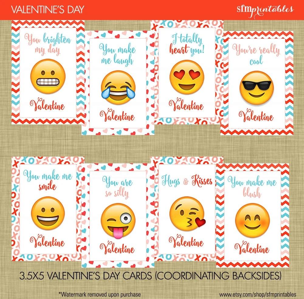 Instant Download Emoji Valentines Day Cards Kids