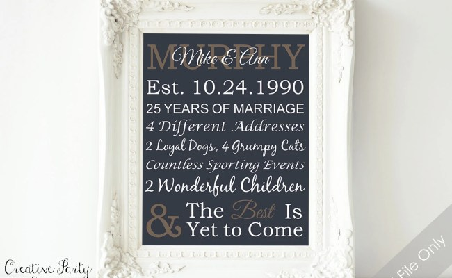 Items Similar To 25th Anniversary Gift Personalized