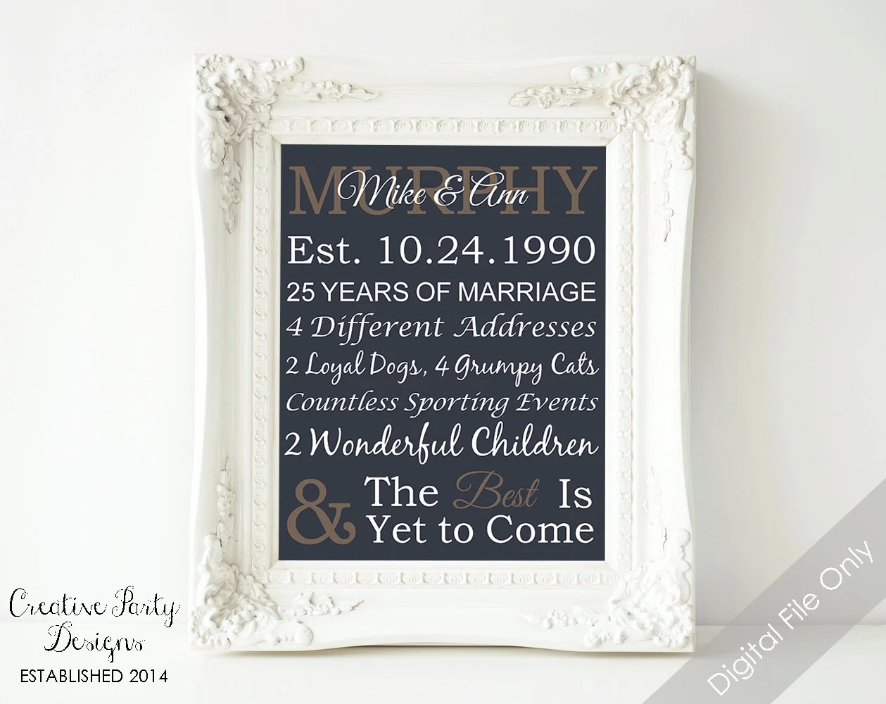 Items Similar To 25th Anniversary Gift