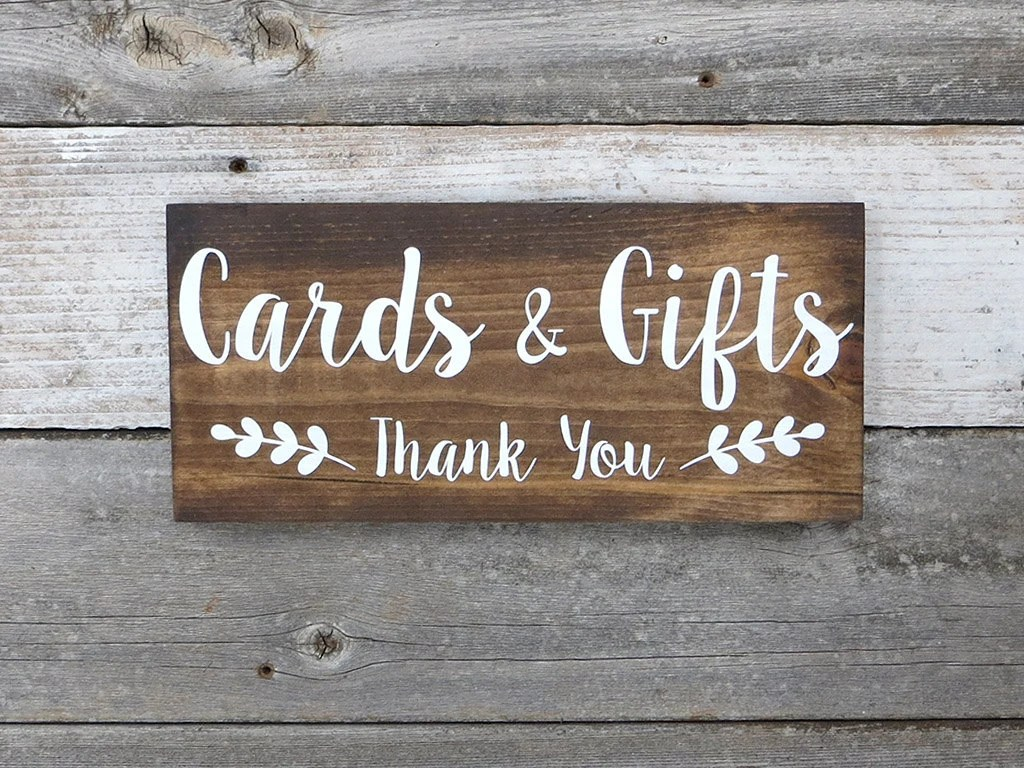 Rustic Hand Painted Wood Wedding Sign Cards  Gifts