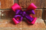 pink purple bow girls hair