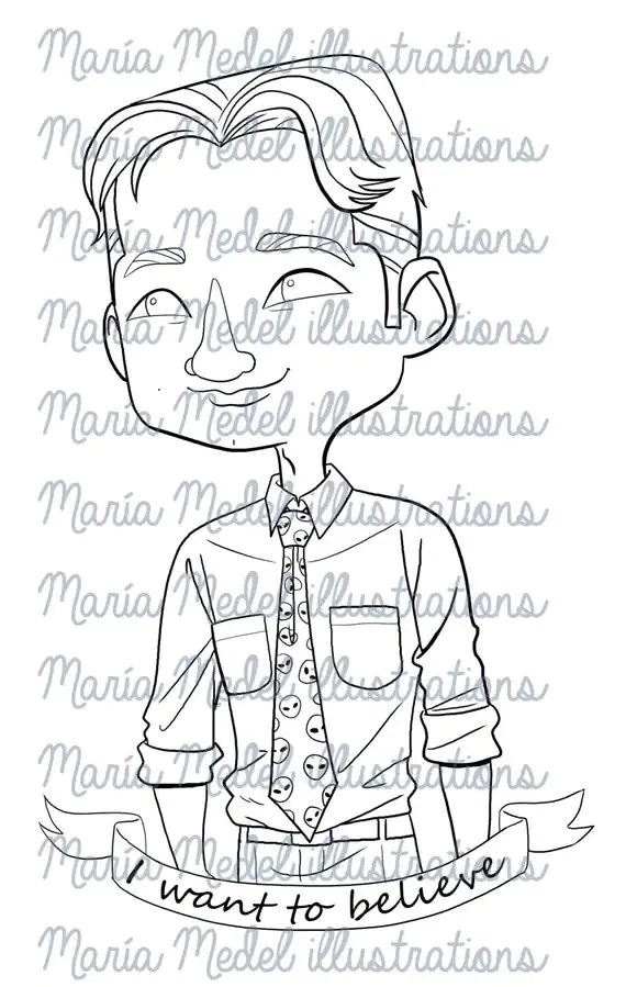 AGENT MULDER, X Files, Digital stamp/ coloring page