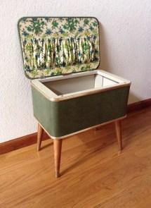 Vintage Sewing Bench Basket Mid Century Modern