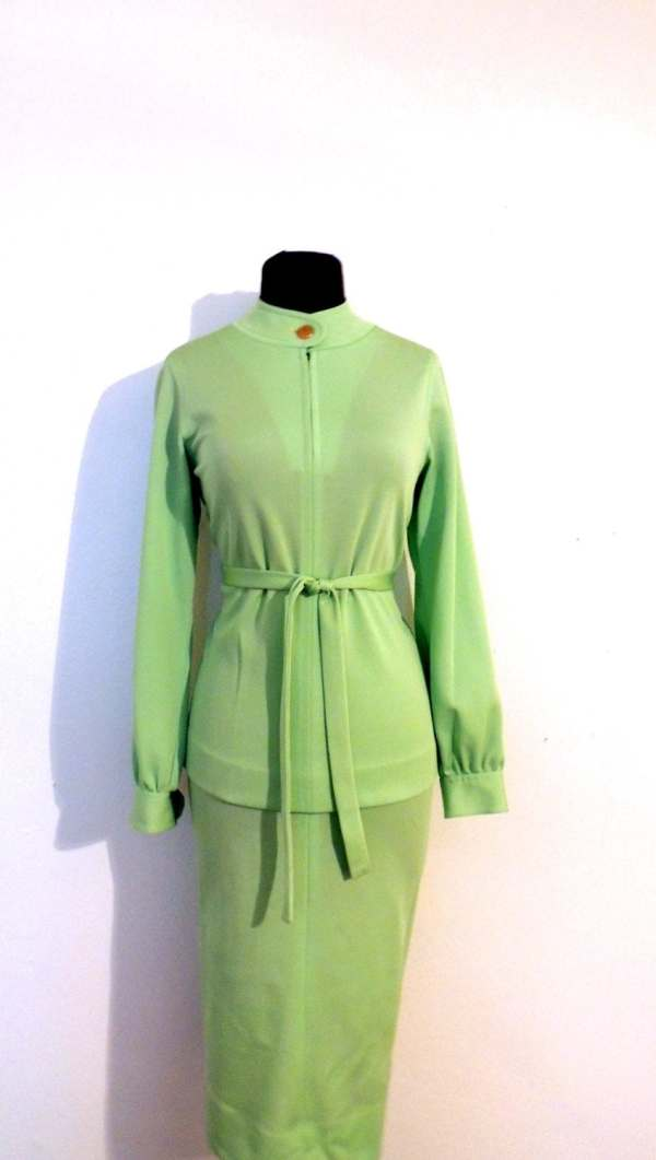 Vintage Lime Skirt Suit 1960s Kimberley Mod Green