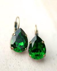 Emerald Green Earrings Drop Earrings Dangle Earrings