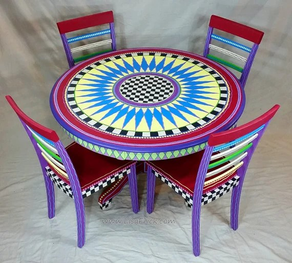 Funky Custom Hand Painted Table & Chairs