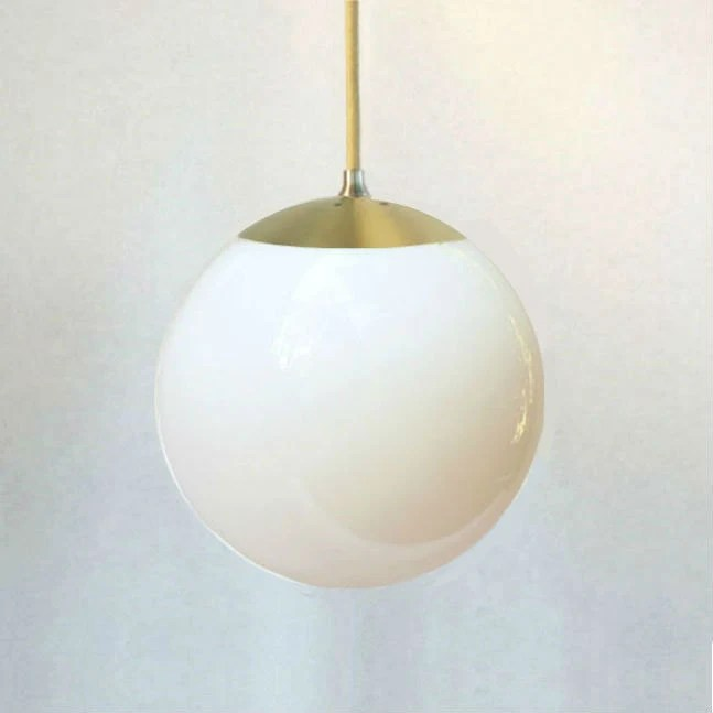 Mid Century Modern White Glass 8 Globe Pendant Light