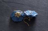 Dark Blue Leather Flower Earrings Leather Jewelry Nature