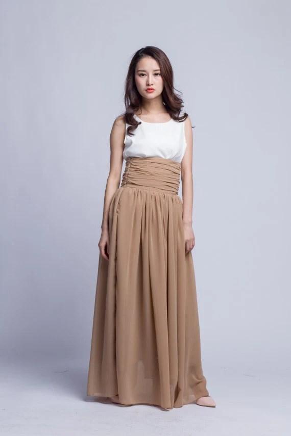 Floor Length Summer Skirt High Waist Maxi Skirts by