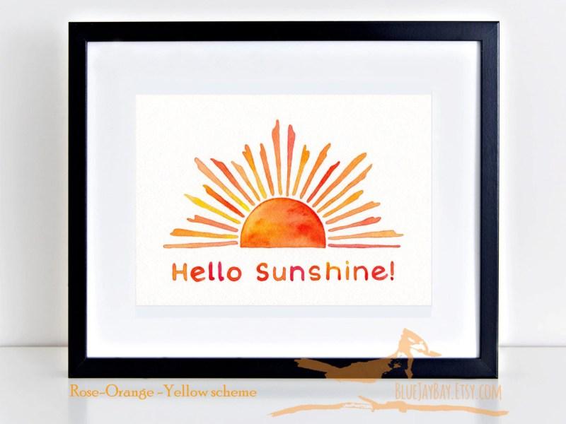 Hello Sunshine! Art Deco Sun motif original watercolor painting ~ sun rays sunbeams sunshine sunrise sunny day happy art decor