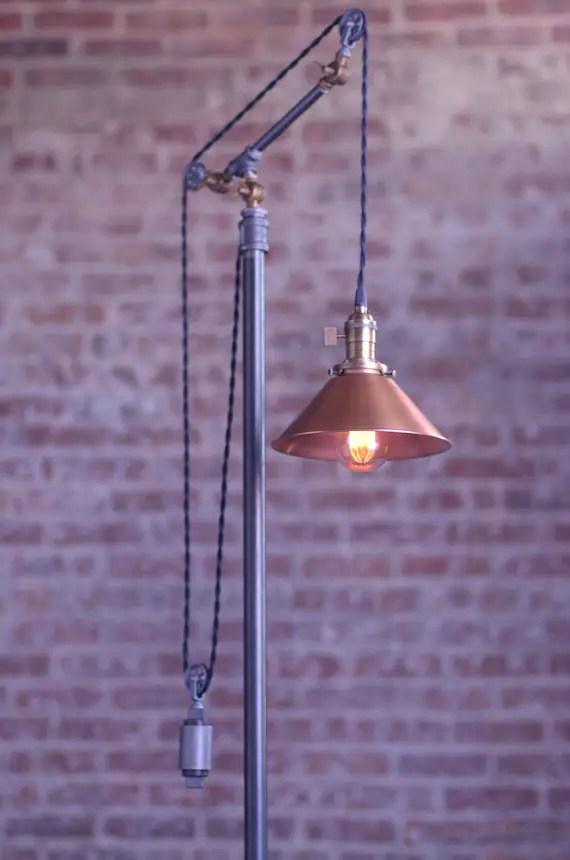 Pulley Floor Lamp Adjustable Floor Lamp Industrial