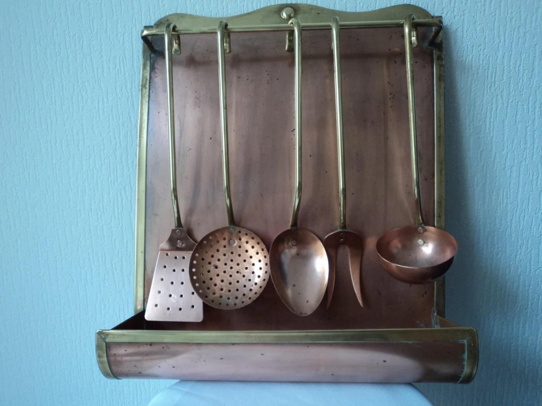 copper kitchen utensil holder caddy french vintage and brass utensils stand