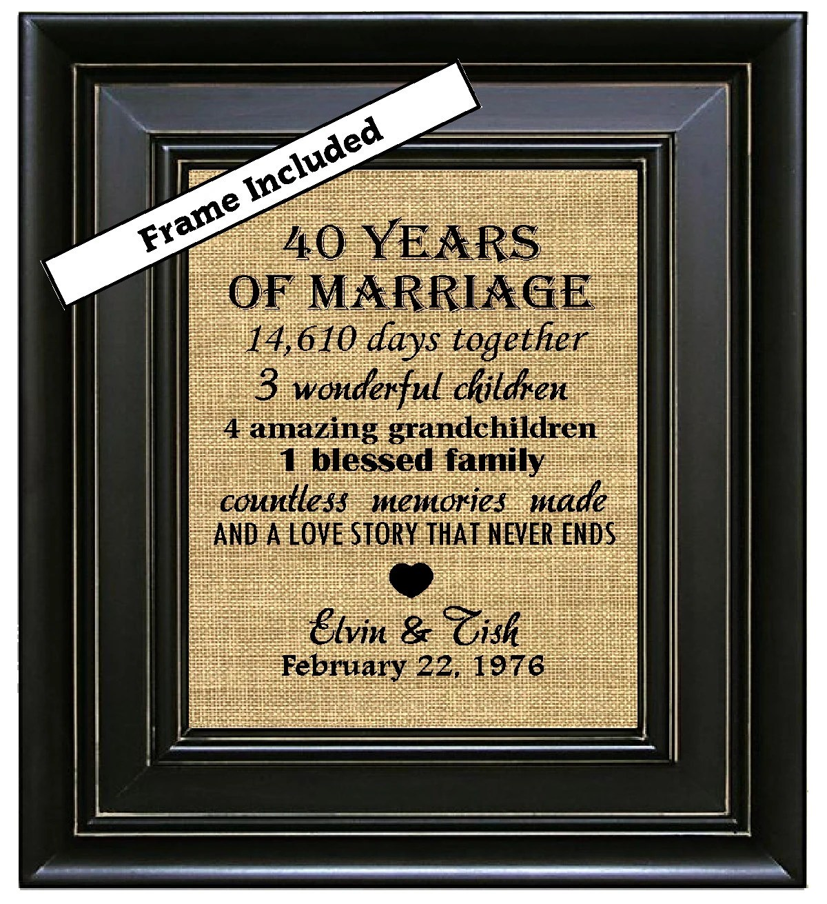 FRAMED Personalized 40th Anniversary Gift40 years by BurlapNGlass