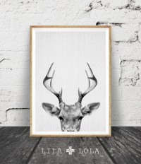 Deer Print Deer Antlers Woodlands Decor Wilderness Wall