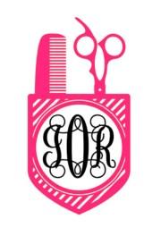 hair stylist monogram iron decal