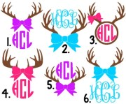 antler monogram with bow decals