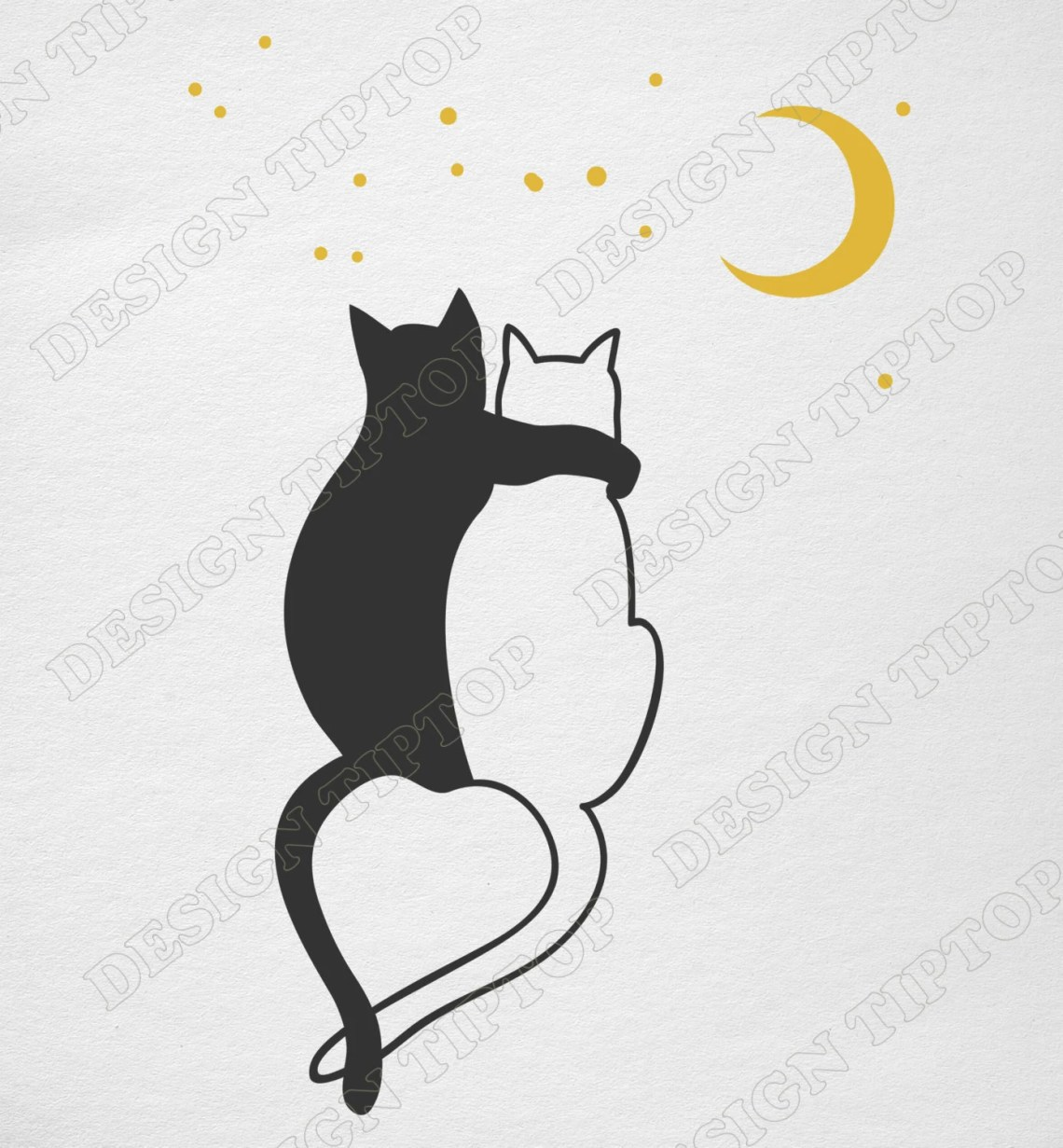 Download Сats love svg dxf png Cricut Silhouette Сat shirt cats