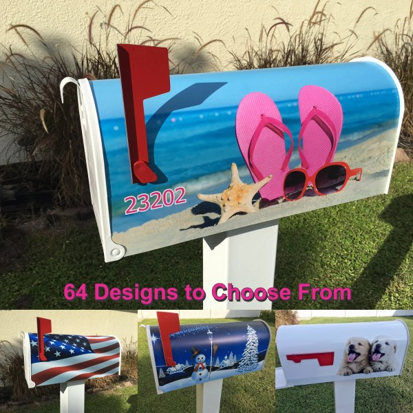 beach scene magnetic mailbox cover