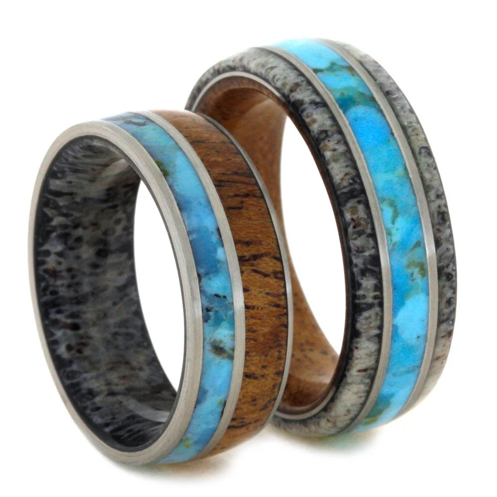 Unique Wedding Band Set Turquoise Rings With by jewelrybyjohan