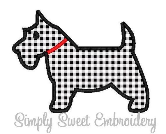 Scottie Dog Machine Embroidery Applique Design