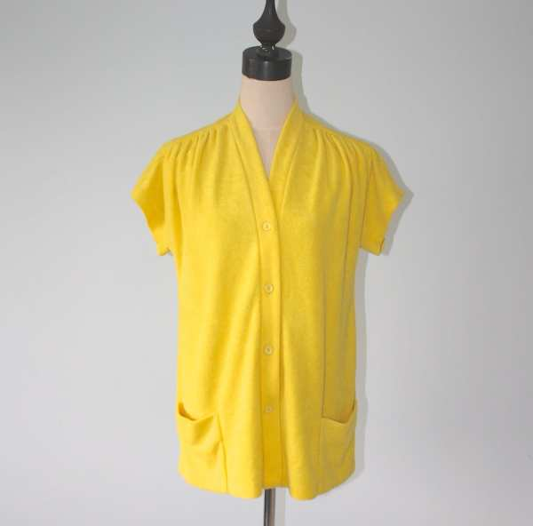 1960s Yellow Terry Cloth Bathing Suit Cover . Vintage 60s 70s