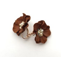 Items similar to Chocolate brown leather flower earrings ...