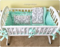 Gray Traditions DAMASK and MINT Baby Cradle Bedding Set