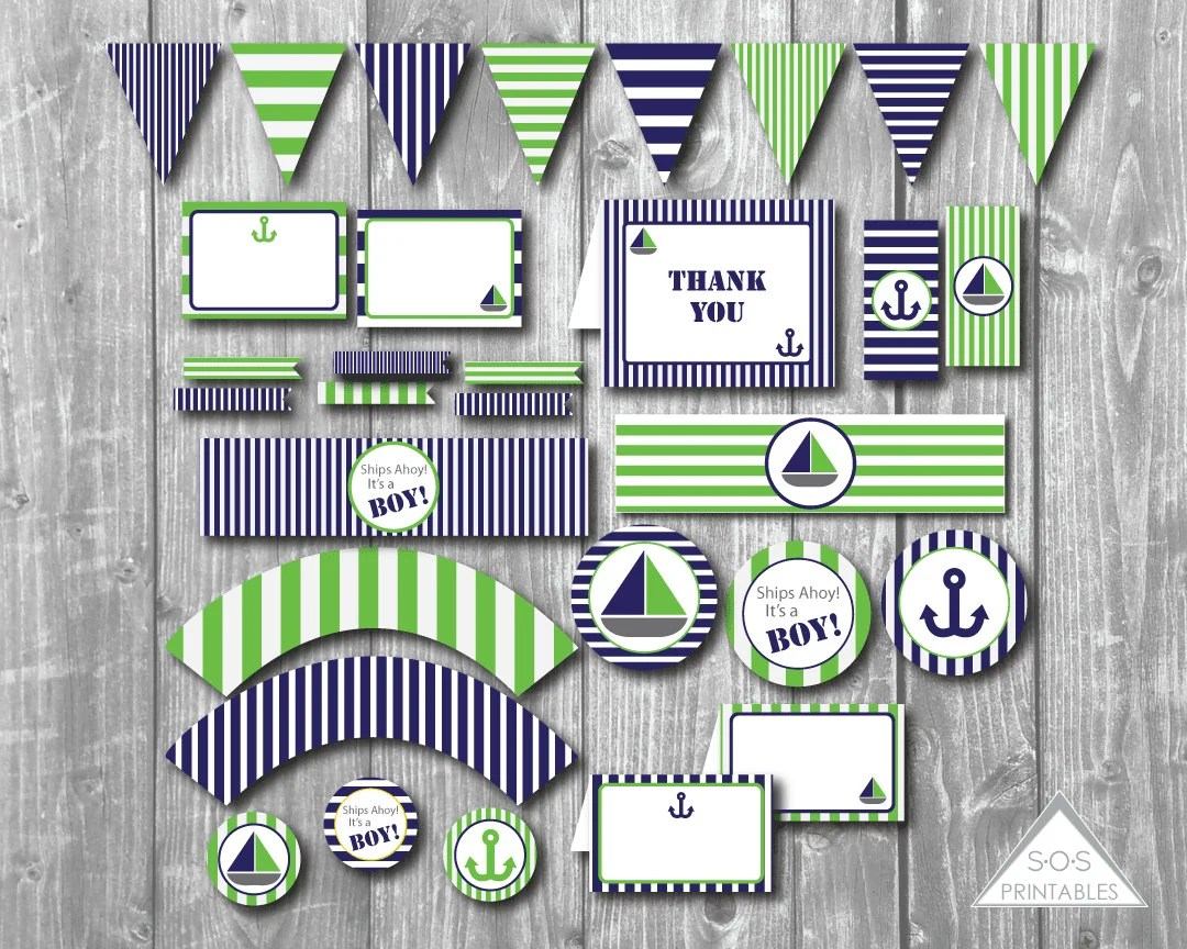 Nautical Baby Shower Blue And Green Printable Baby Shower