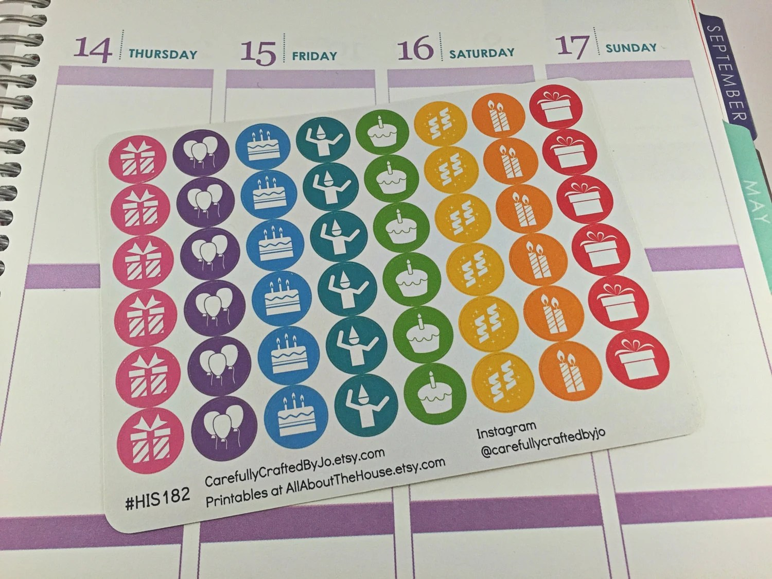 birthday planner stickers, rainbow, icon, functional, party, balloon, gift, dance, celebrate, anniversary, life event, candle, engagement, wedding