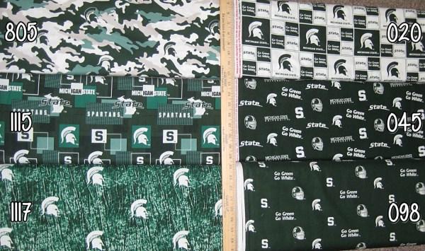 Ncaa Michigan State Spartans Green & White College Logo Cotton